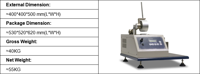 dimensions of Velcro Closing Tester GT-K20